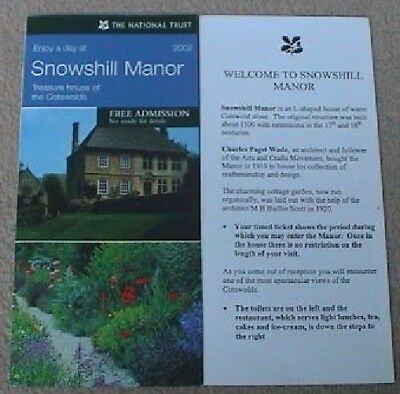 2002 The National Trust Snowshill Manor Broadway Cotswolds Leaflet/Guide