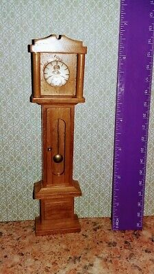 Dolls house 12th scale non working grandfather clock with glass cabuchon face