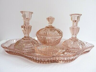 Vintage 1930s Art Deco Pink Pressed Glass Dressing Table Set & Vanity Tray