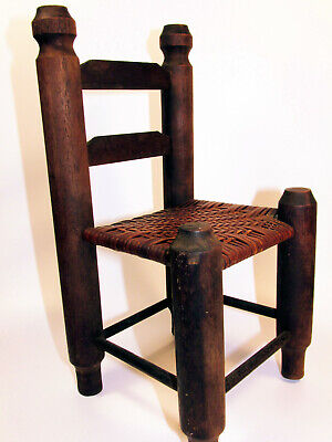Antique Primitive Folk Art Small Doll Chair Hand Made Wood w/ Woven Seat