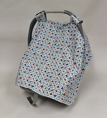 Fabric Car Seat Canopy Cover. Blue & White w Bugs, Washable. Baby