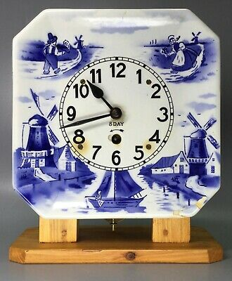 Delft Plate Clock With Wooden Stand Made in USA