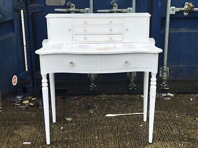 Vintage Repro Ladies Writing Desk Dressing Table Painted In White
