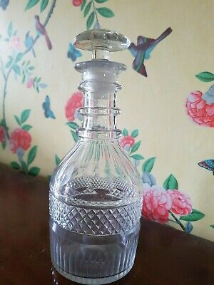antique Georgian wine cut glass decanter triple neck ring stopper grey tinge