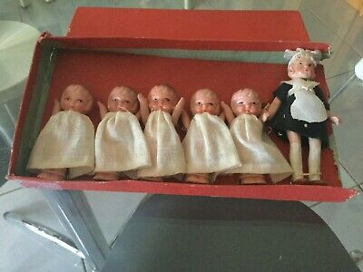 Antique Bisque Dionne Quintuplets with Nurse Set  ca 1930s. Original Box