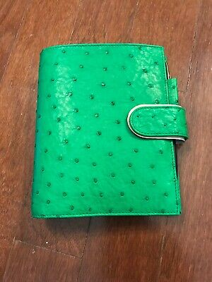 Gillio Firenze Ring Planner Organiser Compagna A6 Real Ostrich Apple Green