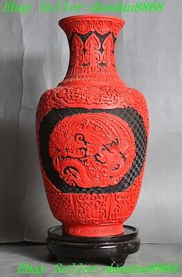 China Delicate Lacquer lacquerware Hand-carved Dragon phoenix flower bottle Vase