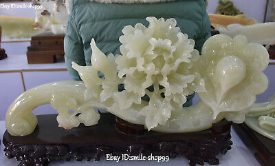 "23"" Unique Natural White Jade Magpie Bird Peony Flower Ruyi Blessing Statue"