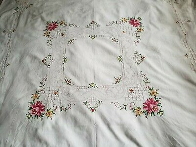 Vintage Linen Embroidered Floral Cross Stitch Table Cloth