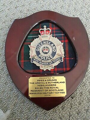 Queensland badge plaque Tattoo Band pipes and drums