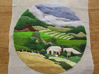 Completed Long Stitch Of A  Farm Fields & Mountains 28Cms High X 29Cms Wide