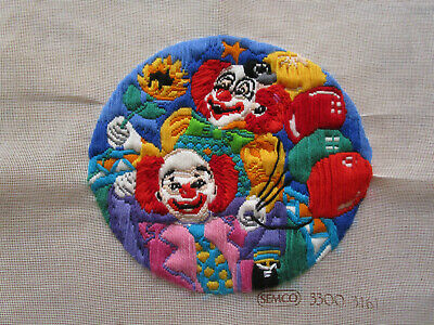 Completed Long Stitch Of 2 Clowns With Baloons. 28.5Ms High X 26Cms Wide