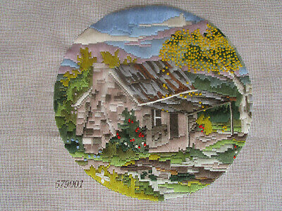 Completed Long Stitch Of A Cabin & Wattle Tree.. 29Cms High X 29Cms Wide
