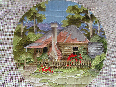 Completed Long Stitch Of A  Settlers Cottage. 28Cms High X 28.5Cms Wide