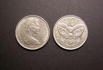 1967 NEW ZEALAND 10 Cent/One Shilling coin (x2) - circulated decimal