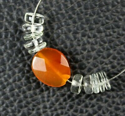 Natural Carnelian Green Amethyst Smooth Faceted Coin Oval Loose Beads 11pcs
