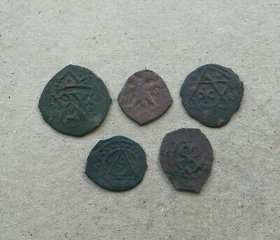 Lot of 5 Medieval Bronze Coins Golden Horde Tatar Mongolian Igo