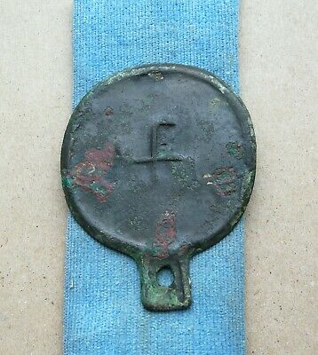 Authentic Viking Decorated With Handle Family Ornament Bronze Mirror Super Rare