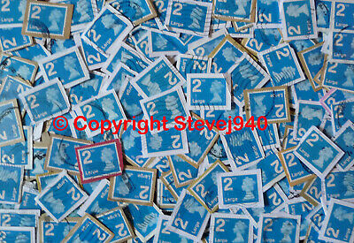 500x GB 2nd Class Large Machin's Blue Security Used Stamps On Trimmed Paper