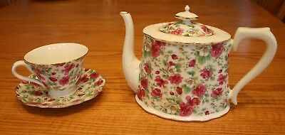 Grace's Teaware Pink Roses 4 Cup Teapot Teacup Floral Grace Flower Birthday