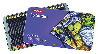 Derwent Studio Colored Pencils with Tin, Assorted Colors, Set of 36