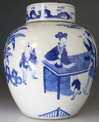 Antique Rare Chinese Porcelain Vase Jar Cover Blue White Boys - Kangxi Qing 18Th