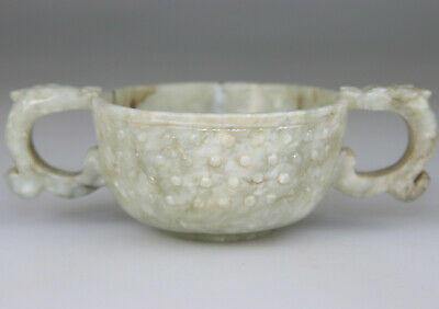 Antique Chinese Vase Jade Nephrite Celadon Libation Cup Carved - Qing 17Th 18Th