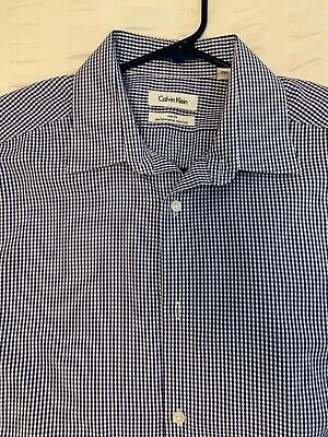 Mens Calvin Klein Houndstooth Button Down Shirt Slim Fit Size 16 34/35