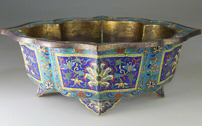 Antique Rare Chinese Cloisonne Bronze Gilt Jardiniere Vase - Qing 18Th 19Th C.
