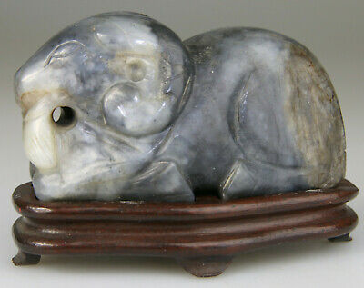 ANTIQUE RARE CHINESE RAM STATUE FIGURE JADE CELADON CARVED STAND Ming 17TH 18TH