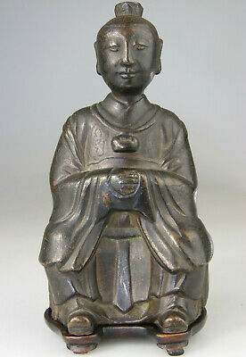 Antique Rare Chinese Ming Statue Figure Buddha Bronze Carved Stand - Ming 17Th