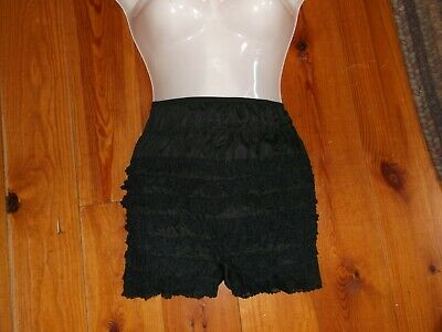 Vintage BLACK PETTI PANTS RUFFLED LAYERED LACE NYLON PANTIES SZ Small Excellent