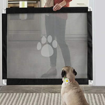 Portable Kids Pets Safety Door Guard Portable Gate Fence Dog Barrier Magic Play