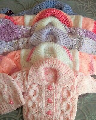 Hand knitted  uniqui chunky jacket/hat  baby girls nb 0-3 3-6 months/reborn