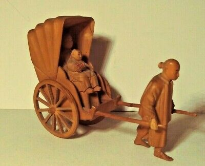 Antique Asian Hand-carved Chinese Rickshaw, Driver & Two Passengers  NICE!