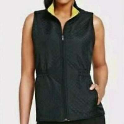 CAbi Size LARGE Travel Reversible Vest #927 Black Lemon Lime