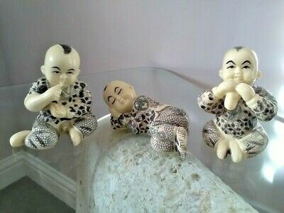 3 x Vintage Resin Hand Carved Chinese Baby Figures