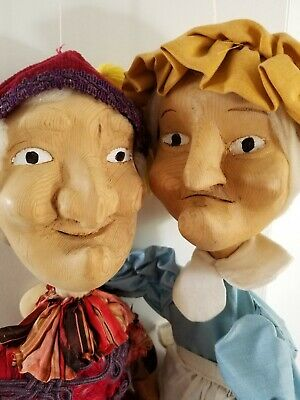 Punch And Judy Marionette Puppets OOAK wood carved Folk Art Dolls