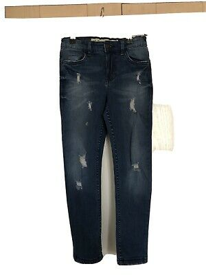 Boys Primark Blue Ripped Skinny Jeans Age 7-8 Years