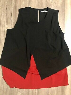 Ripe Maternity/nursing Cross Over Feeding Top Size L Black And Red Casual/work
