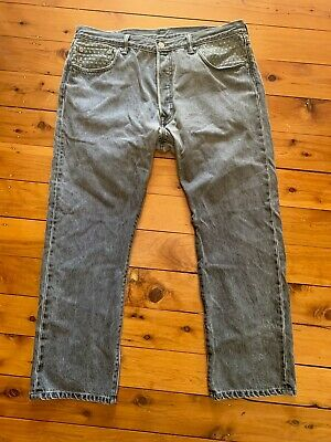 Levis 501 Grey Emboidered Sashiko Detail 38W 29L Button Fly Perfect Condition