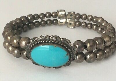 Old Pawn NAVAJO Sterling Silver Pearl Bead Turquoise Stamped Cuff Bracelet
