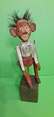 Folk Art Antique Old Primitive Carving Carved Painted Wood Wooden Jointed Figure