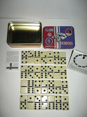 Classic Channel Craft Dominoes Complete 28 Pc Set Of Double Six Dominoes In Tin