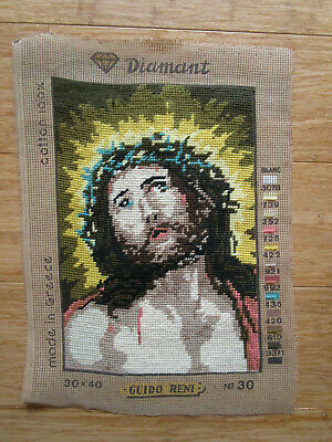 Completed Tapestry Of Jesus With A Crown Of Thorns. 31Cms High X 21Cms Wide