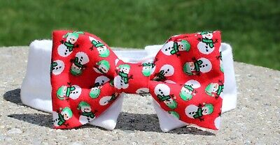 New Cat Small Dog Red Snowman Cotton Bow Tie & White Shirt Collar