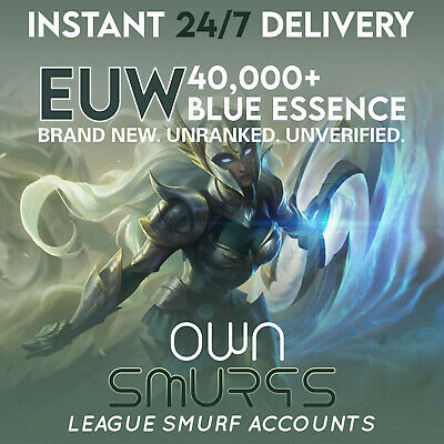 League of Legends Unranked Account EUW SMURF LoL 40000+ BE IP