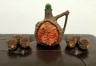 Vintage Black Forest Decanter Character Face Hand Carved Bottle and Glass Cups.