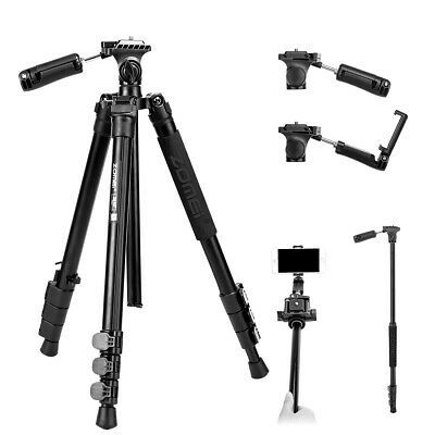 ZOMEI Pro Aluminum Tripod Monopod Pan Head&Phone Clip For DSLR Camera Flexible