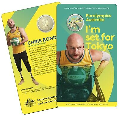 2020 Paralympics Australia $1 Coloured Frosted UNC Coin Carded RA Mint Olympics